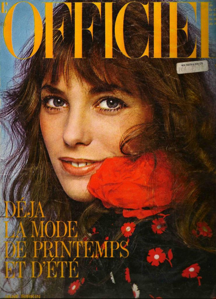 -Jane Birkin couverture magazine L'Officiel n° 605, février 1974