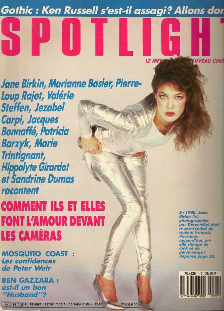 -Jane Birkin couverture magazine Spotlight n° 7 février 1987