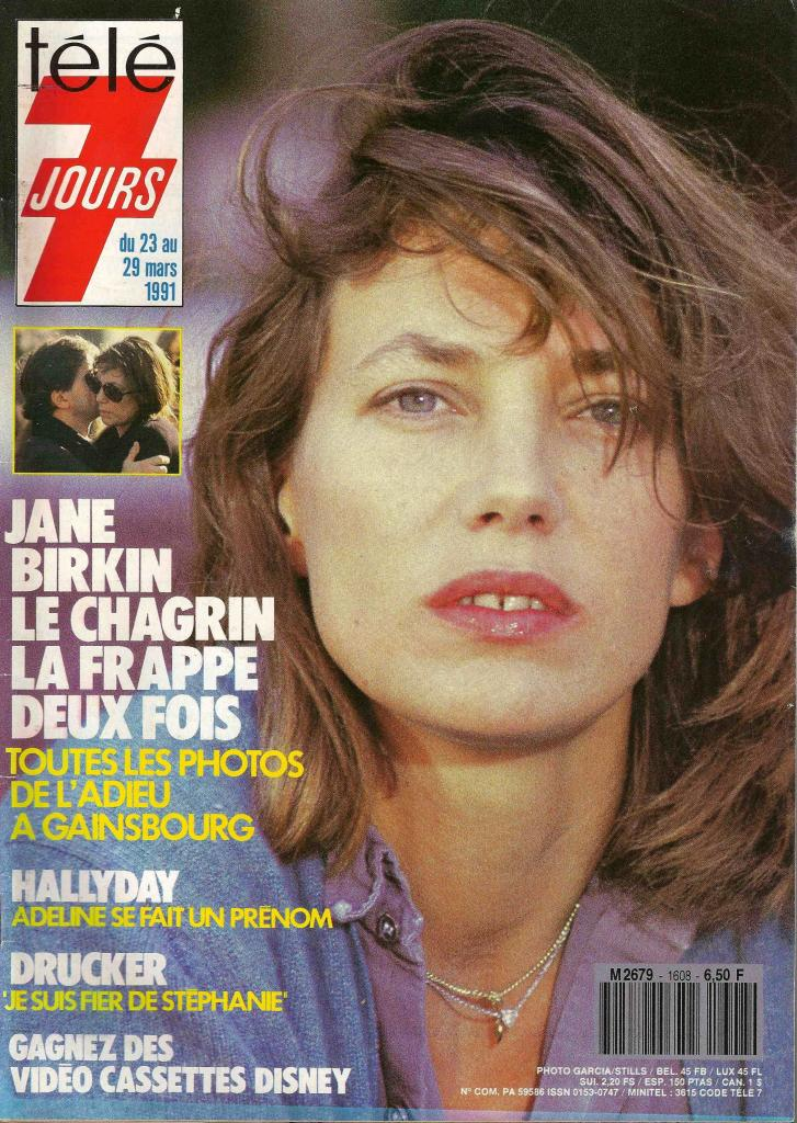 -Jane Birkin couverture Télé 7 jours n° 1608 du 23 au 29 mars 1991