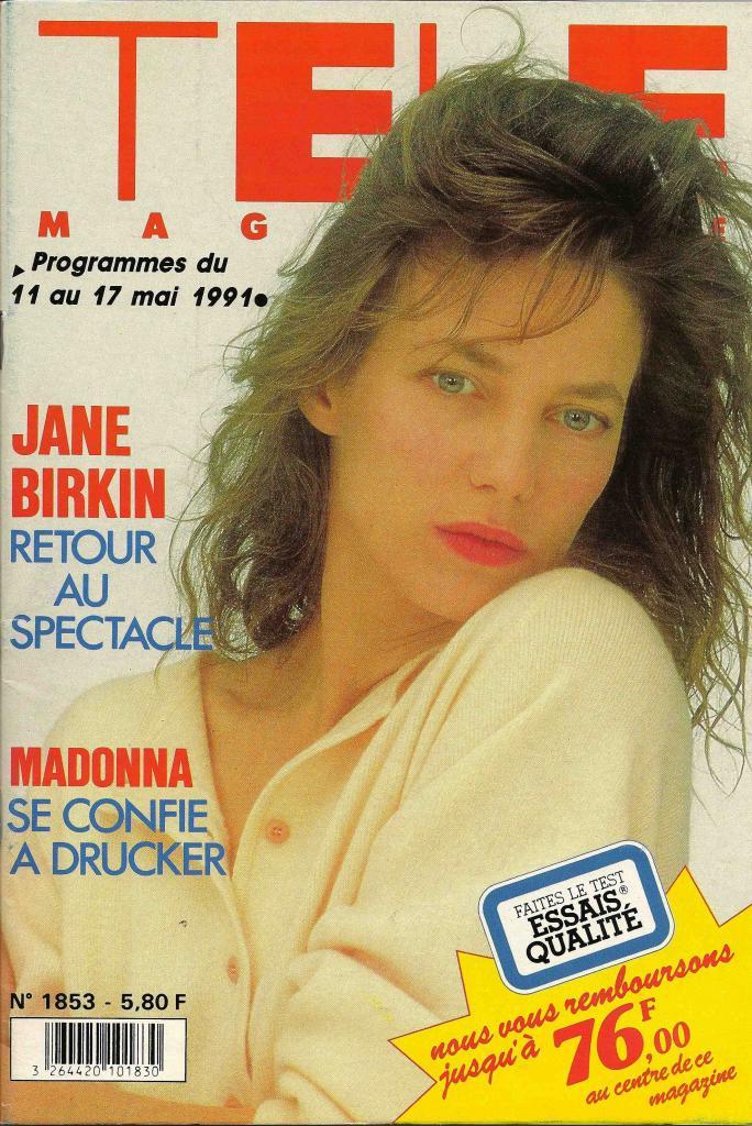 -Jane Birkin couverture Télé Magazine n° 1853 du 11 au 17 mai 1991