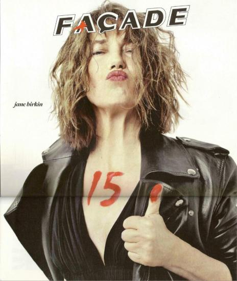 Jane Birkin photo couverture magazine Façade n° 15 mars 2013