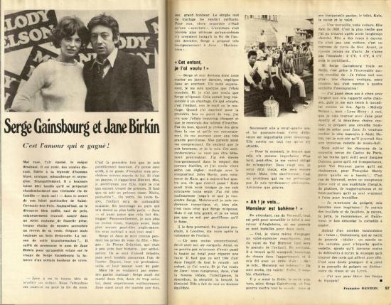 magazine Bonne Soirée jane birkin et serge gainsbourg 1971
