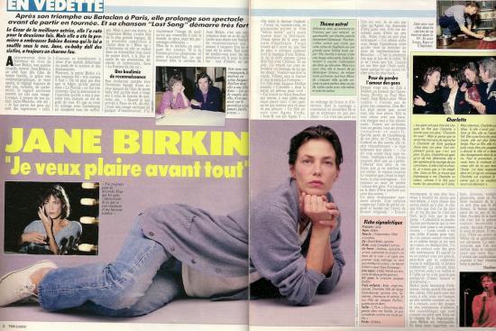 jane birkin Télé Loisirs, n° 57, mars avril 1987