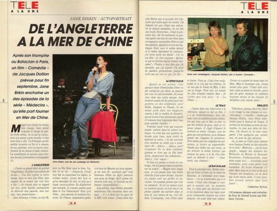 jane birkin Télé Magazine, n° 1660, du 29 août au 4 septembre 1987