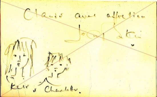 autographe jane birkin avec dessin kate et charlotte