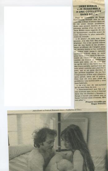 Jane Birkin Patrick Dewaere article presse française