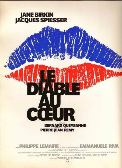 Jane Birkin affiche du film Le diable au coeur de Bernard Queysanne