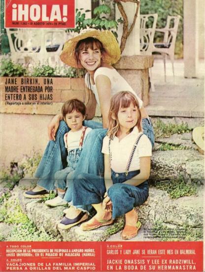 Jane Birkin, Charlotte Gainsbourg et Kate Barry couverture magazine Hola n° 1563 10 août 1974 Espagne