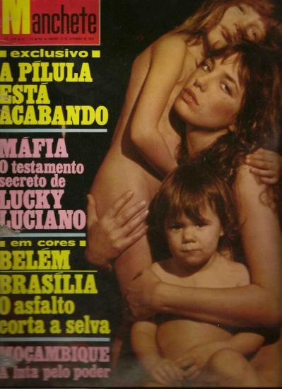 Jane Birkin, Charlotte Gainsbourg et Kate Barry couverture magazine Manchete n° 1170 21 septembre 1974 - Brésil