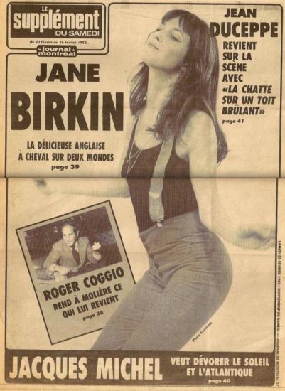 Jane Birkin couverture Le Journal de Montréal, du 20 au 26 février 1982