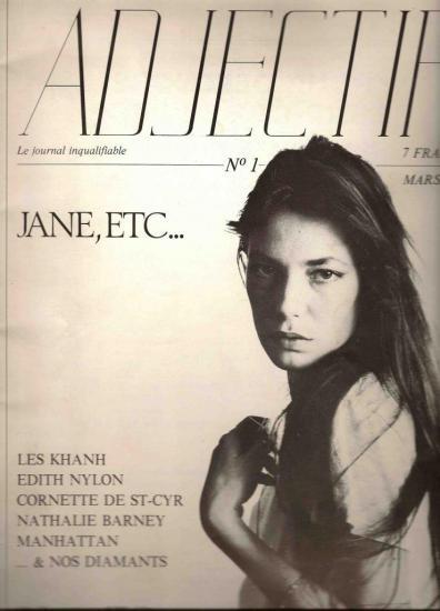 Jane Birkin couverture magazine Adjectif n° 1 mars 1980