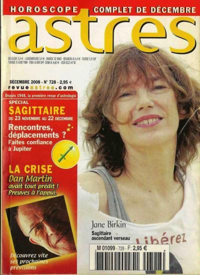 Jane Birkin couverture magazine Astres n° 728 décembre 2008