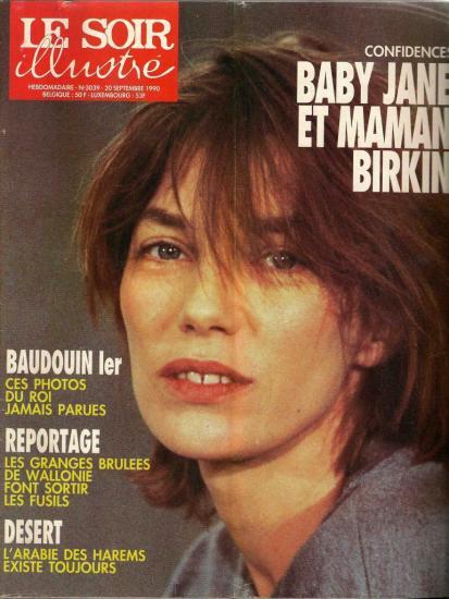 Jane Birkin couverture magazine belge Le Soir Illustré n° 3039 - 20 septembre 1990