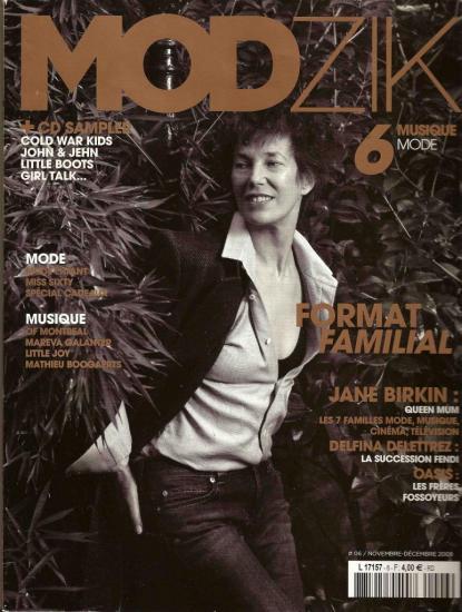 Jane Birkin couverture magazine Modzik n° 6 novembre décembre 2008