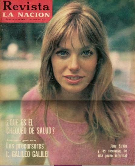 ane Birkin couverture magazine Revista La Nacion - Argentine 1972