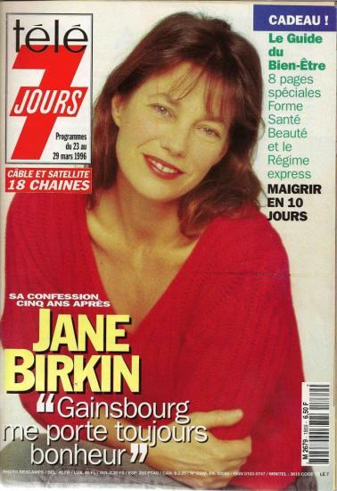 Jane Birkin couverture magazine Télé 7 jours du 23 au mars 1996 n° 1869