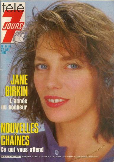 Jane Birkin couverture magazine Télé 7 jours n° 1316 du 17 au 23 août 1985