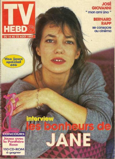 Jane Birkin couverture magazine TV Hebdo supplément La Voix du Nord du 16 au 22 août 1997