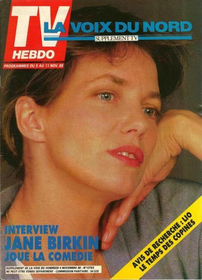 Jane Birkin couverture magazine TV Hebdo supplément TV La voix du Nord n° 13793 du 4 novembre 1988