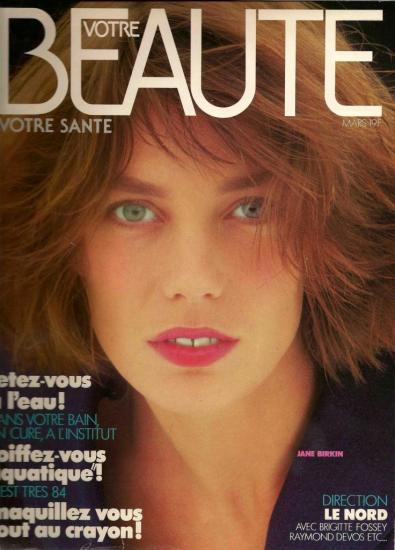 Jane Birkin couverture magazine Votre beauté votre santé n° 575 mars 1984