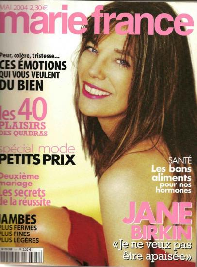 Jane Birkin couverture Marie France n° 111 mai 2004