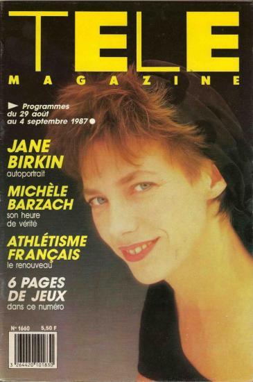 Jane Birkin couverture Télé magazine n° 1660 du 29 août au 4 septembre 1987