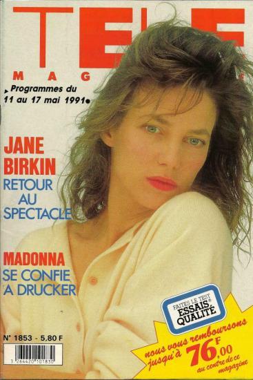 Jane Birkin couverture Télé Magazine n° 1853 du 11 au 17 mai 1991