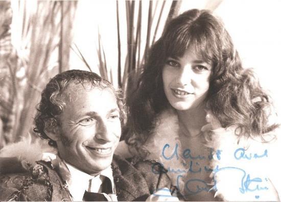 Jane Birkin film La moutarde me monte au nez de Claude Zidi, photo de plateau, dédicace