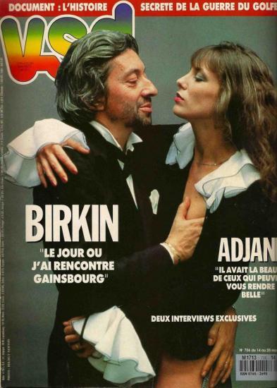 Jane Birkin et Serge Gainsbourg couverture magazine VSD n° 706 du 14 au 20 mars 1991