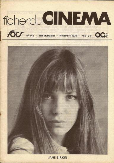 jane Birkin Fiches du cinéma n° 542 novembre 1975