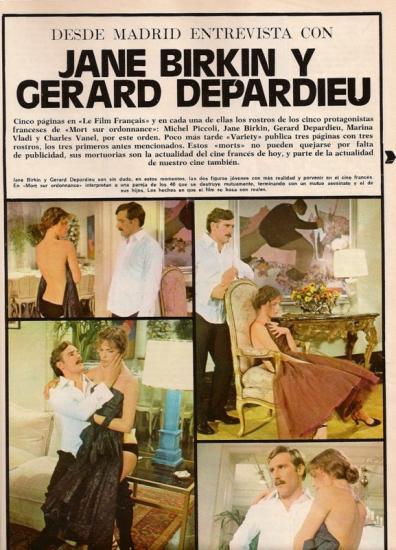 Jane Birkin, Gérard Depardieu  - 7 morts sur ordonnance - Fotogramas n 1401, presse etrangere- Espagne - 22 aout 1975