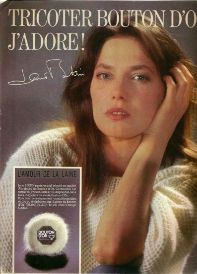 Jane Birkin publicité laines catalogue Bouton d'Or 4eme de couverture Paris Match