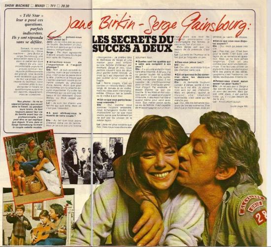 jane birkin et serge gainsbourg télé star n-85-mai-1978