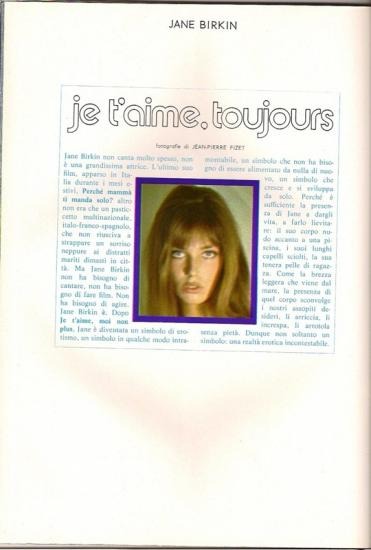 Jane Birkin - Playmen, edition italienne - n 10, octobre 1973