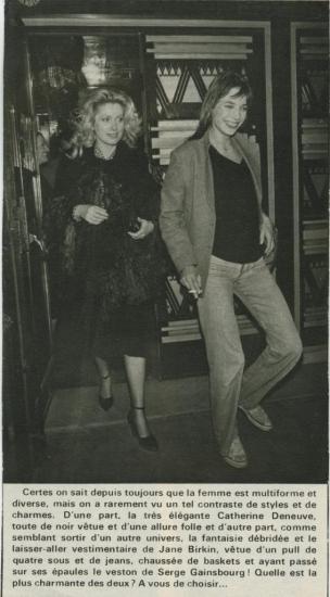 Jane Birkin et Catherine Deneuve presse française