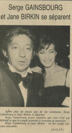 Jane Birkin et Serge Gainsbourg séparation article presse française