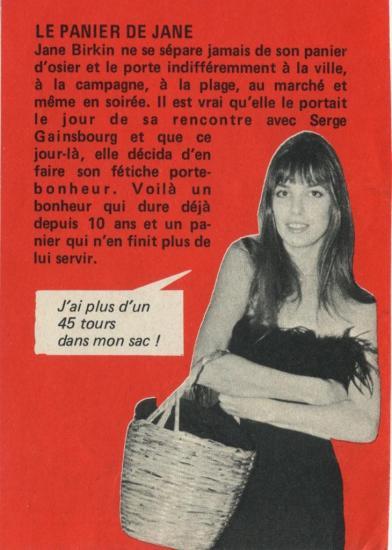 Jane Birkin et son Birkin Bag de l'époque, un panier d'osier