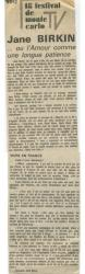 Jane Birkin article presse française