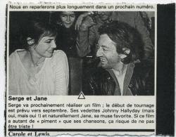 Jane Birkin Serge gainsbourg article presse française