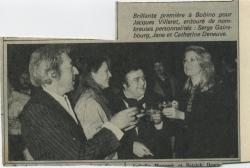 Jane Birkin, Serge Gainsbourg, jacques villeret et catherine deneuve coupure de presse