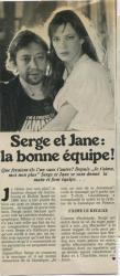 Jane Birkin et Gainsbourg article presse