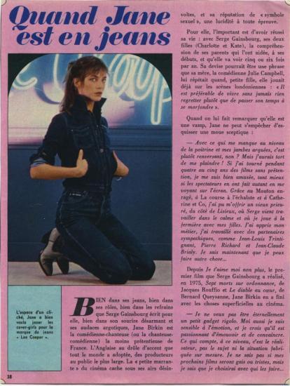Jane Birkin publicité jeans Lee Cooper article presse française