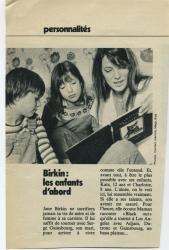 Jane Birkin, Kate et Charlotte coupure de presse