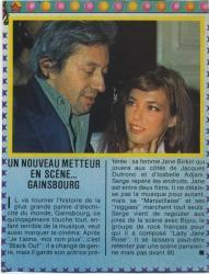 Jane Birkin et Serge Gainsbourg coupure de presse