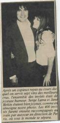 Jane Birkin et Serge Lama presse française