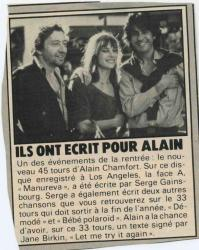 Jane Birkin Serge Gainsbourg et Alain Chamfort presse française