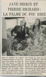 Jane Birkin et pierre Richard La course à l'échalote presse française