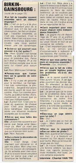 interview jane birkin et serge gainsbourg télé star 1978